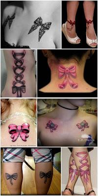 várias tatuagens de laço