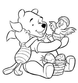 desenhos para imprimir e colorir do Ursinho Pooh e o seu amigo Leitão