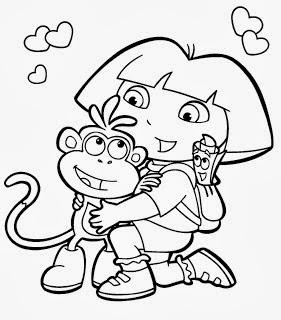 desenhos para imprimir e colorir menina com seu macaquinho