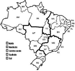 Regiões do Brasil para colorir