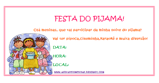 Convites para festa do pijama para imprimir
