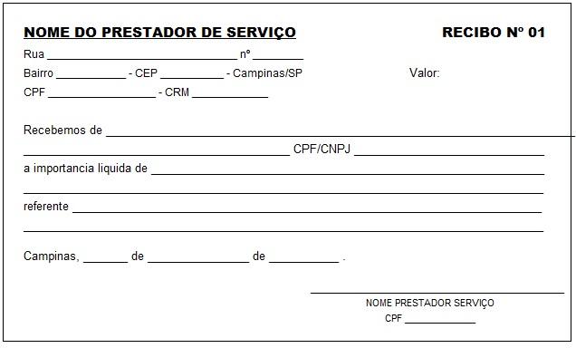 modelo de recibo de prestação de serviços