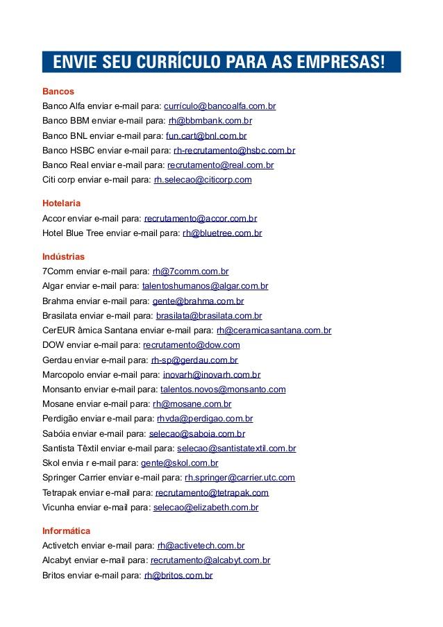 Sites e Email de empresas para enviar currículo