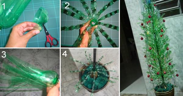 Como fazer arvore de natal com garrafa pet
