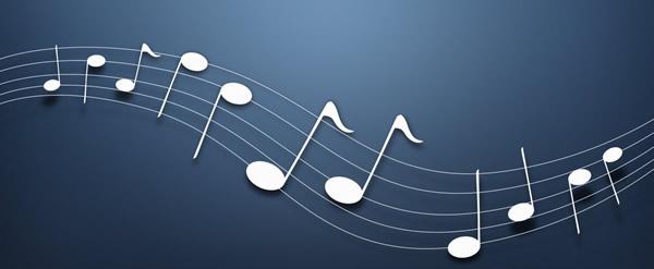 Símbolo de música no teclado